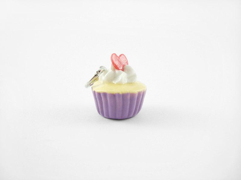 Miniature Charm Heart Confetti Cupcake Purple
