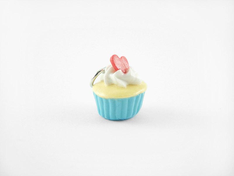 Miniature Charm Heart Confetti Cupcake Blue