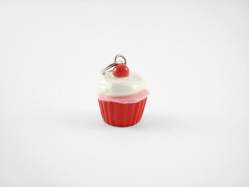 Miniature Charm Red Cherry Cupcake