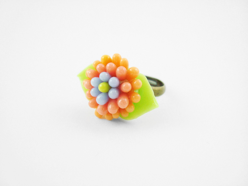 Soft Leafy Flower Ring - One of a Kind