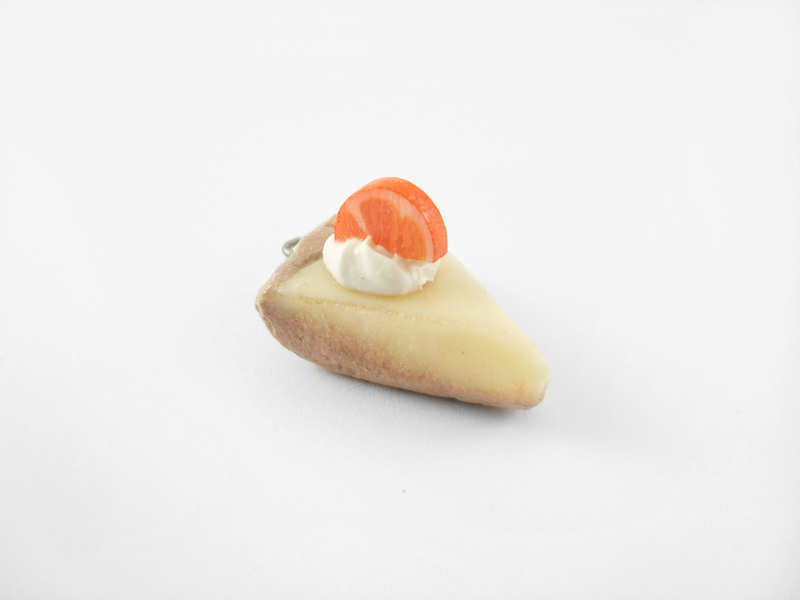 Miniature Orange Cheesecake Charm with Ball Chain Strap