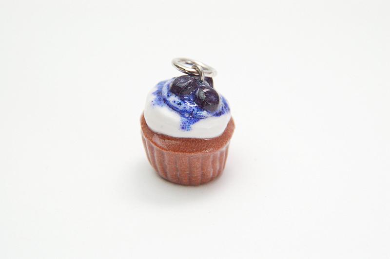 Miniature Blueberry Cupcake Charm - Plain