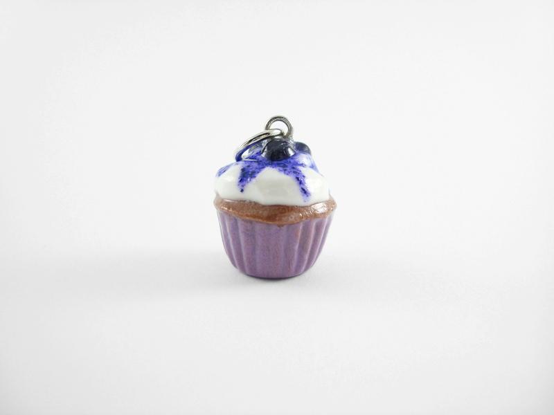 Miniature Blueberry Cupcake Charm - Berry