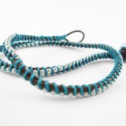 Brown and Teal Leather Double Wrapped Bracelet