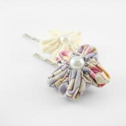Flower Hair Clip Purple and White