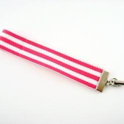 Pink Stripe Ribbon Cell Phone Strap