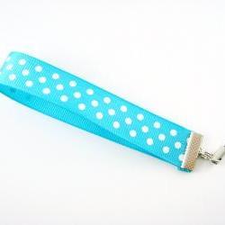 Turquoise Polka Dot Ribbon Cell Phone Strap